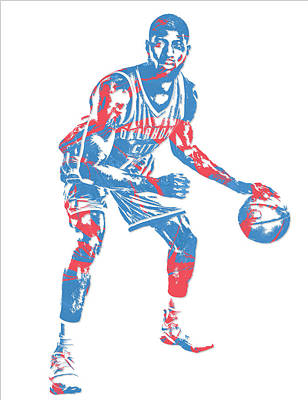 Mixed Media - Paul George Oklahoma City Thunder Pixel Art 2 by Joe Hamilton