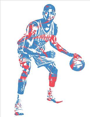 Oklahoma Mixed Media - Paul George Oklahoma City Thunder Pixel Art 2 by Joe Hamilton