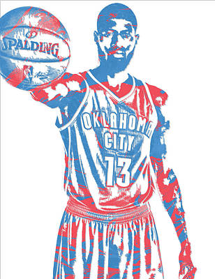 Mixed Media - Paul George Oklahoma City Thunder Pixel Art 3 by Joe Hamilton