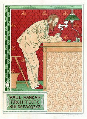 Mixed Media - Paul Hankar - Architecte - Vintage Art Nouveau Poster by Studio Grafiikka