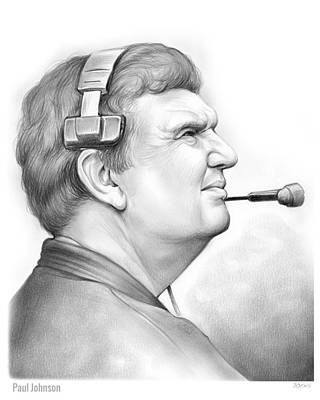 Football Drawing - Paul Johnson by Greg Joens