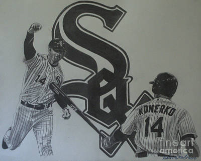 Drawing - Paul Konerko Collage by Melissa Goodrich