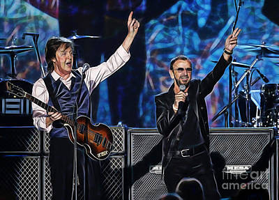 Poster Mixed Media - Paul Mccartney And Ringo Star Collection by Marvin Blaine