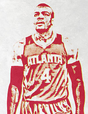 Hawk Mixed Media - Paul Millsap Atlanta Hawks Pixel Art by Joe Hamilton