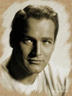 Painting - Paul Newman, Actor by Mary Bassett