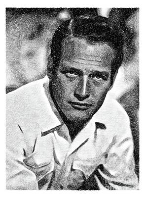 Musicians Drawings - Paul Newman, Hollywood Legend by JS by Esoterica Art Agency