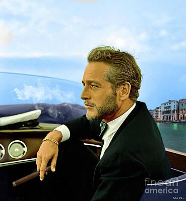 Cuban Mixed Media - Paul Newman, Movie Star, Cruising Venice, Enjoying A Cuban Cigar by Thomas Pollart