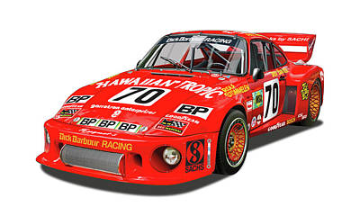Digital Art - Paul Newman Porsche 935 by Alain Jamar
