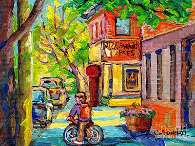 Painting - Paul Patates Frites Resto Diner Paintings Pointe St Charles Verdun Canadian Scenes Carole Spandau    by Carole Spandau