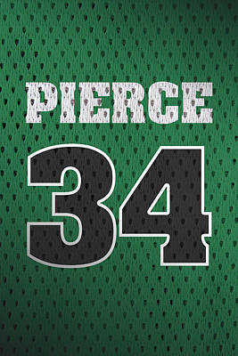 Closeup Mixed Media - Paul Pierce Boston Celtics Number 34 Retro Vintage Jersey Closeup Graphic Design by Design Turnpike