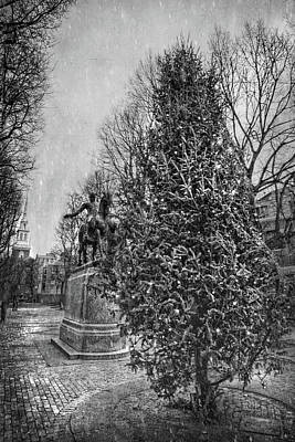 Photograph - Paul Revere Mall Black And White - North End - Boston by Joann Vitali