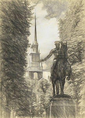 Drawing - Paul Revere Rides Sketch by Thomas Logan