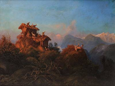 Art History Meets Fashion Rights Managed Images - PAUL VON FRANKEN GERMAN 1818-1884 Ibex in the Caucasus Mountains, 1877 Royalty-Free Image by Paul Von Franken