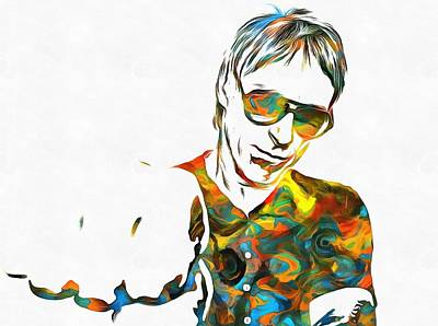 Music Paintings - Paul Weller Paint Poster by Dan Sproul