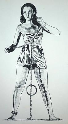 Painting - Paula Captive Wild Woman by Bryan Bustard