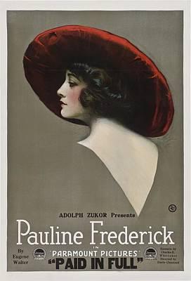 Pauline Frederick In Paid In Full 1919 Art Print