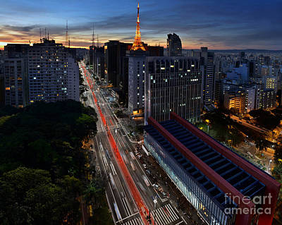 Paulista Avenue And Masp At Dusk - Sao Paulo - Brazil Art Print