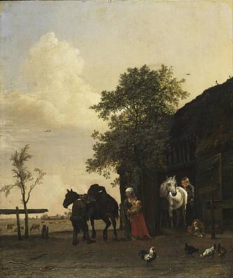 Figure Painting - Paulus Potter Paintings. Figures With Horses By A Stable 1647 by Celestial Images