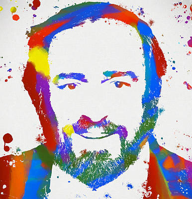Tenor Painting - Pavarotti Colorful Paint Splatter by Dan Sproul