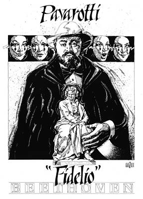 Digital Art Rights Managed Images - Pavarotti Fidelio Inking Royalty-Free Image by Garth Glazier