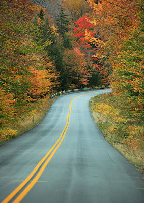 Autumn Leaf Photograph - Paved Road Winding Through Autumn Trees by Gillham Studios