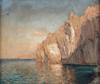 Travel Rights Managed Images - PAVEL ROMANOVICH MEDEM RUSSIAN 1858-1900S Calm Sea by a Rocky Coast, 1902 Royalty-Free Image by Pavel Romanovich Medem