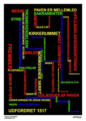Mixed Media - Pavens Huskeseddel by Asbjorn Lonvig
