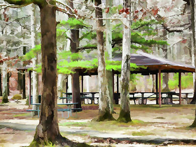High Park Fire Painting - Pavilion At Cheaha State Park by Lanjee Chee