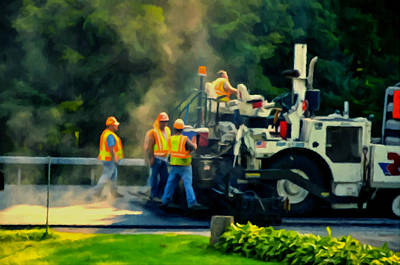 Asphalt Painting - Paving Crew by Lanjee Chee