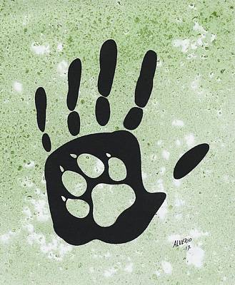 Painting - Paw And Hand by Edwin Alverio