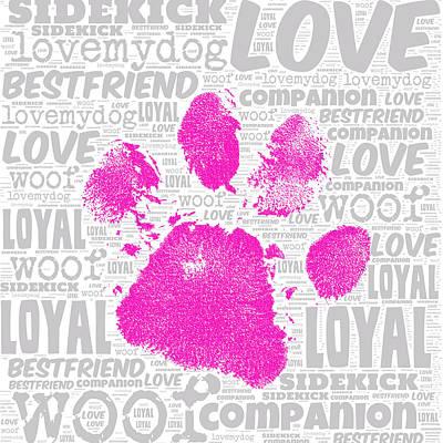 Must Art Digital Art - Paw Print Adopt Pink by Brandi Fitzgerald