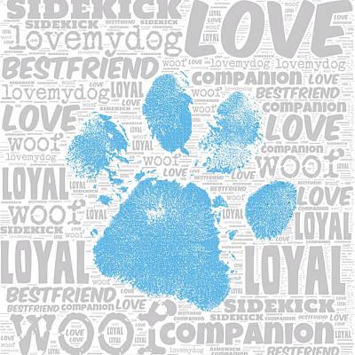 Puppy Mixed Media - Paw Print Blue by Brandi Fitzgerald