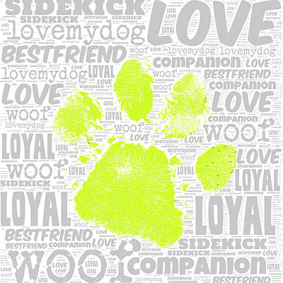 Puppy Mixed Media - Paw Print Green by Brandi Fitzgerald