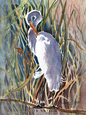 Windblown Mixed Media - Pawleys Heron by Barbara Jung