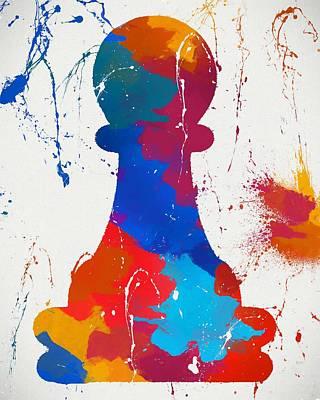 Pawn Chess Piece Paint Splatter Art Print by Dan Sproul