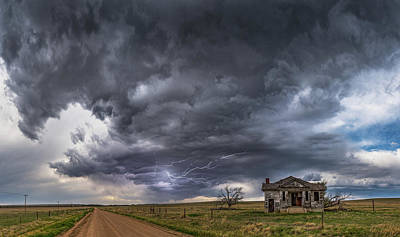 Abandoned Buildings Photograph - Pawnee School Storm by Darren White