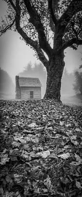 Photograph - Paw's Cabin - Pano-bw by Joye Ardyn Durham