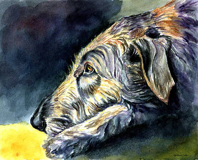 Irish Painting - Paws To Reflect Irish Wolfhound by Lyn Cook