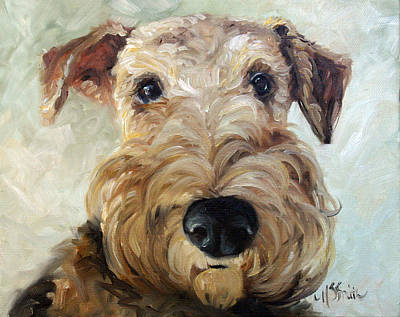 Airedale Terrier Painting - Paying Close Attention by Mary Sparrow
