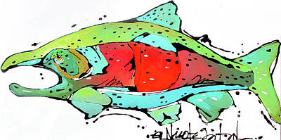 Painting - Payne The Salmon by Nicole Gaitan