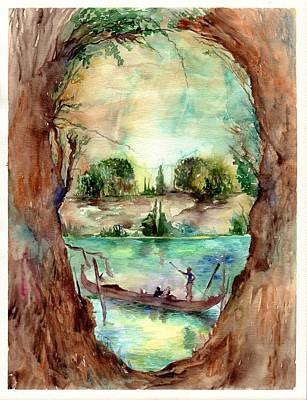 Symbolism Painting - Paysage With A Boat by Suzann's Art