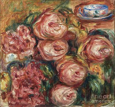 Composition Painting - Composition For Roses And Tea Cup by Celestial Images