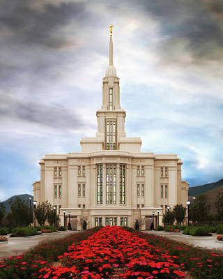 Lds Painting - Payson Temple #3 by Brent Borup