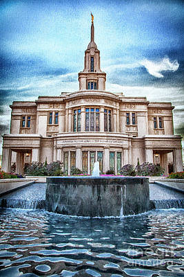 Mixed Media - Payson Temple Lords House by David Millenheft