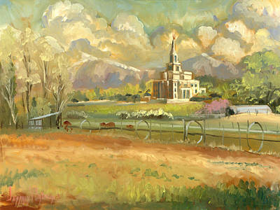 Church Of Jesus Christ Of Latter-day Saints Painting - Payson Temple Plein Air by Jeff Brimley