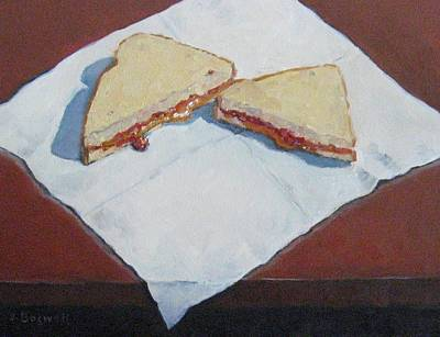 Pb And J On Napkin Art Print by Jennifer Boswell