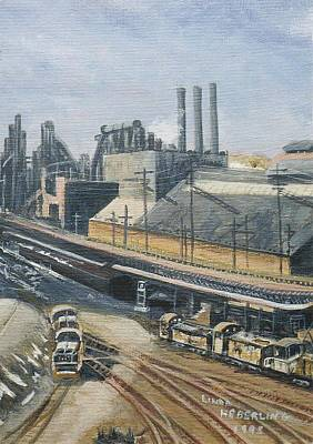 Wall Art - Painting - Philadelphia Bethlehem And New England Railroad by Linda Heberling