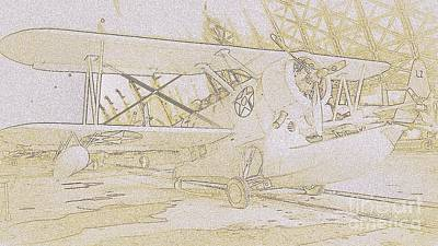 Photograph - Pby Airplane Sketch  by Susan Garren