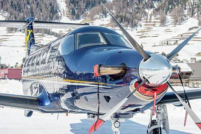 Airplane Photograph - Pc12 Pilatus Reflection Snow Air Corviglia Hb-fvd by Roberto Chiartano