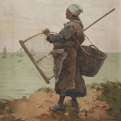 Net Painting - Pcheuse Bretonne by Henri Gaston DARIEN